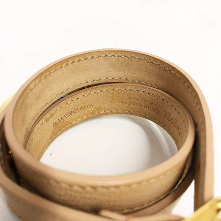 Balenciaga Beige Metallic Edge Leather Bracelet