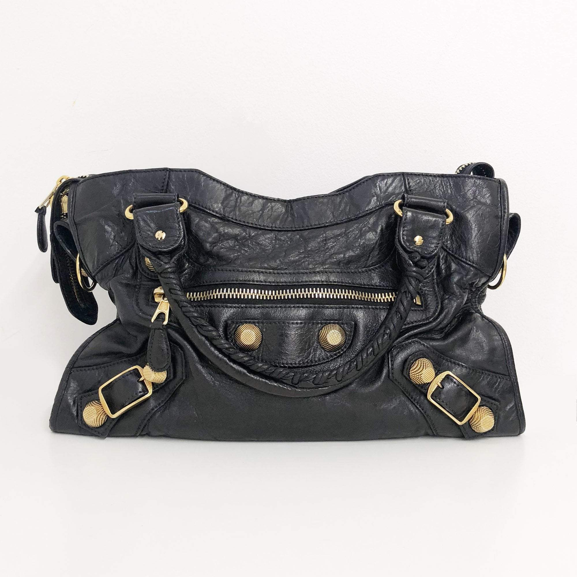 Balenciaga Black City Bag with Gold Studs