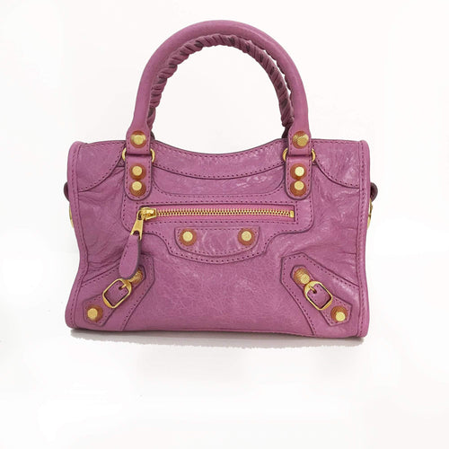 Balenciaga Rose Berlingot Giant 12 Gold Mini City Bag ... add7187ddeb9e