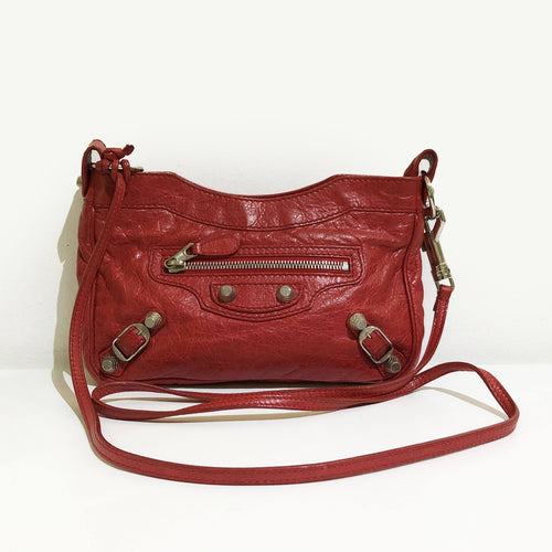 Balenciaga Red Leather RH Hip Crossbody Bag