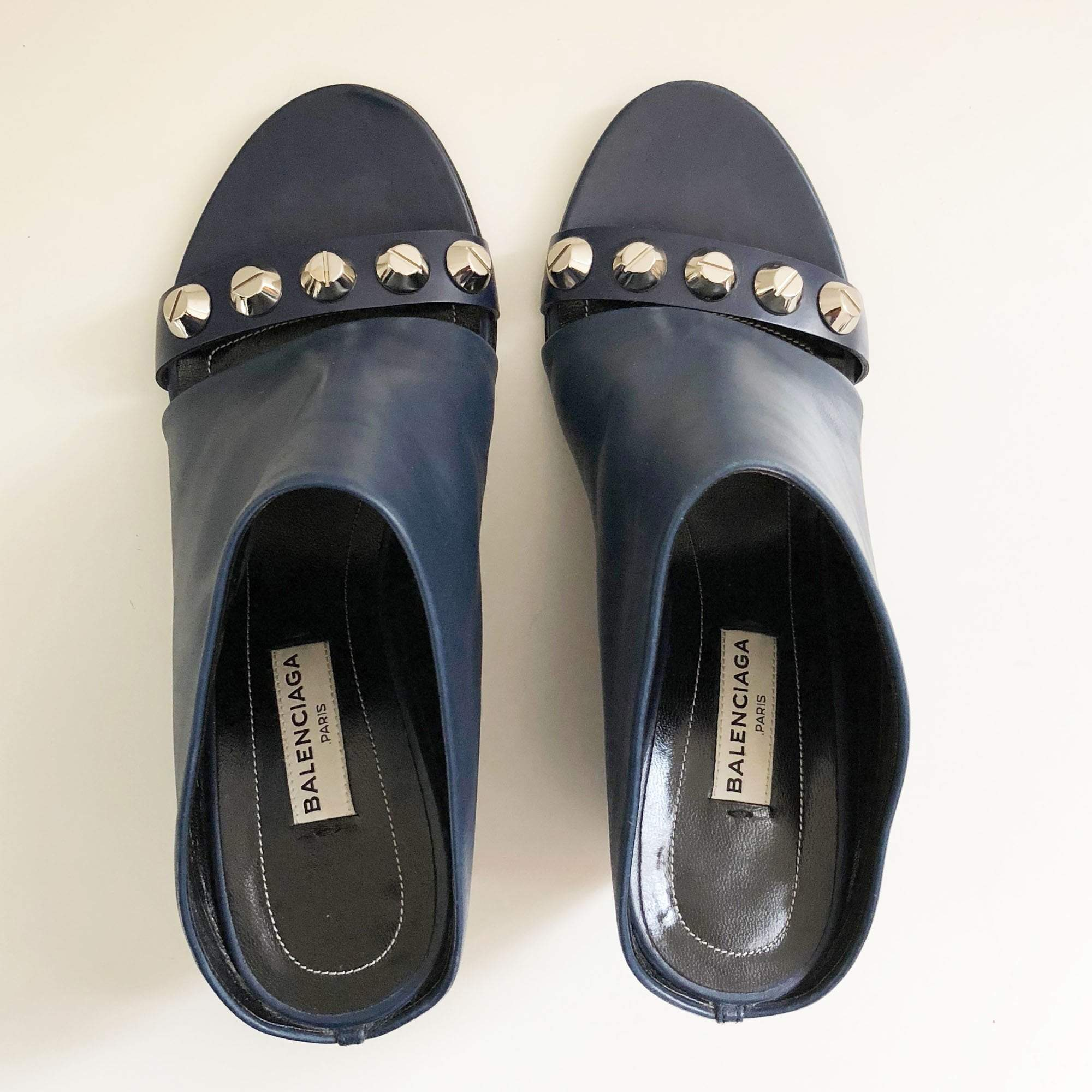 Balenciaga Studded Wedge Mules