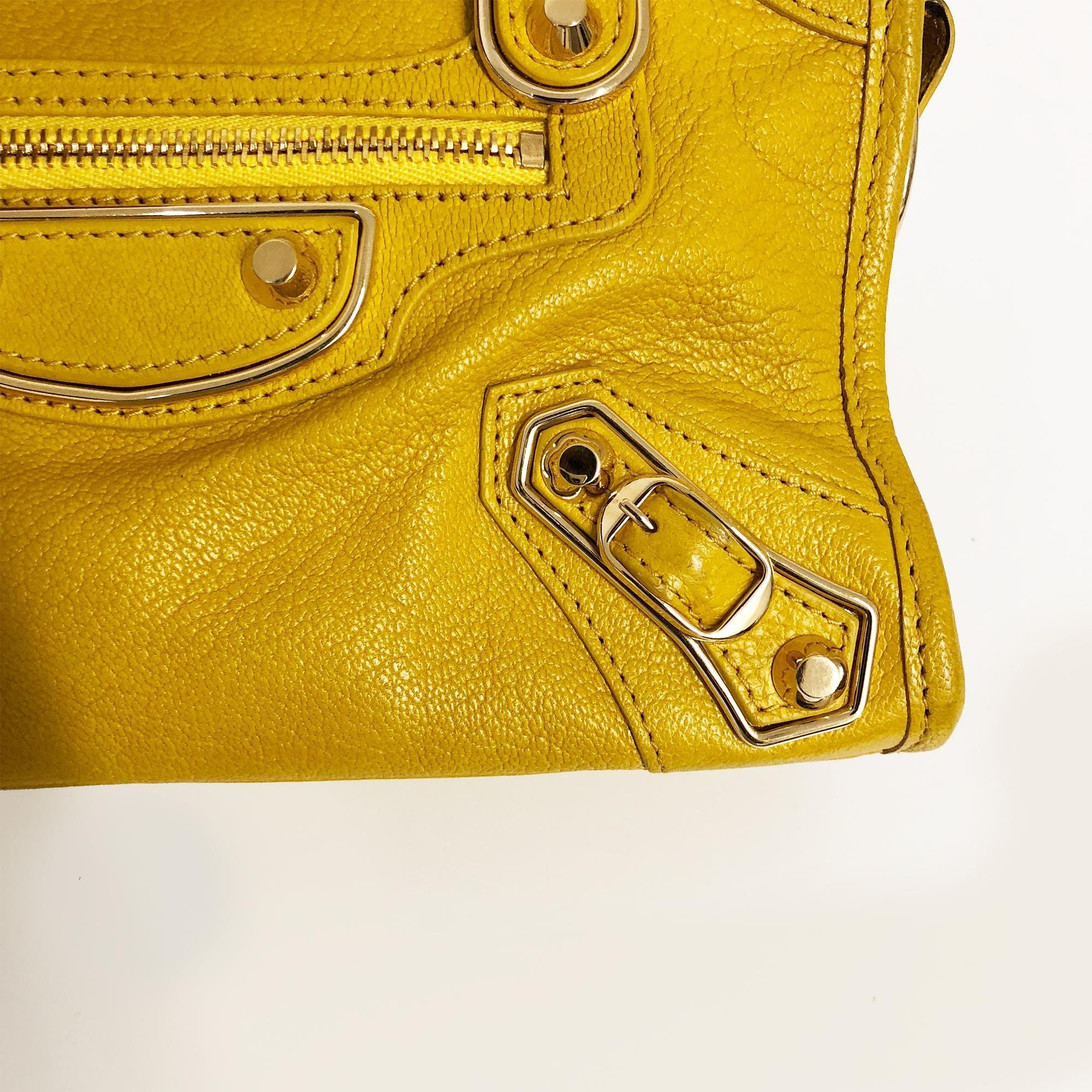 Balenciaga Yellow Nano Classic Metallic Edge City Cross-Body Bag