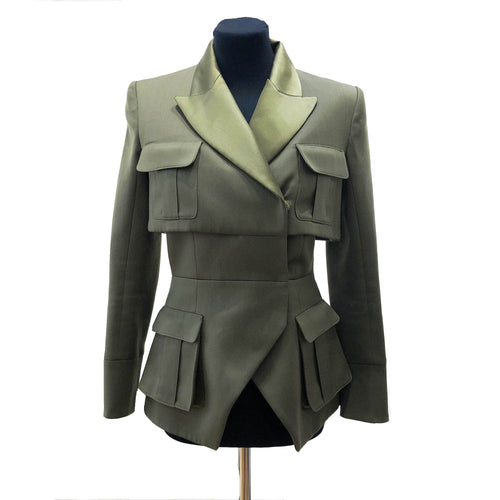 Balmain Double Breasted Olive Blazer
