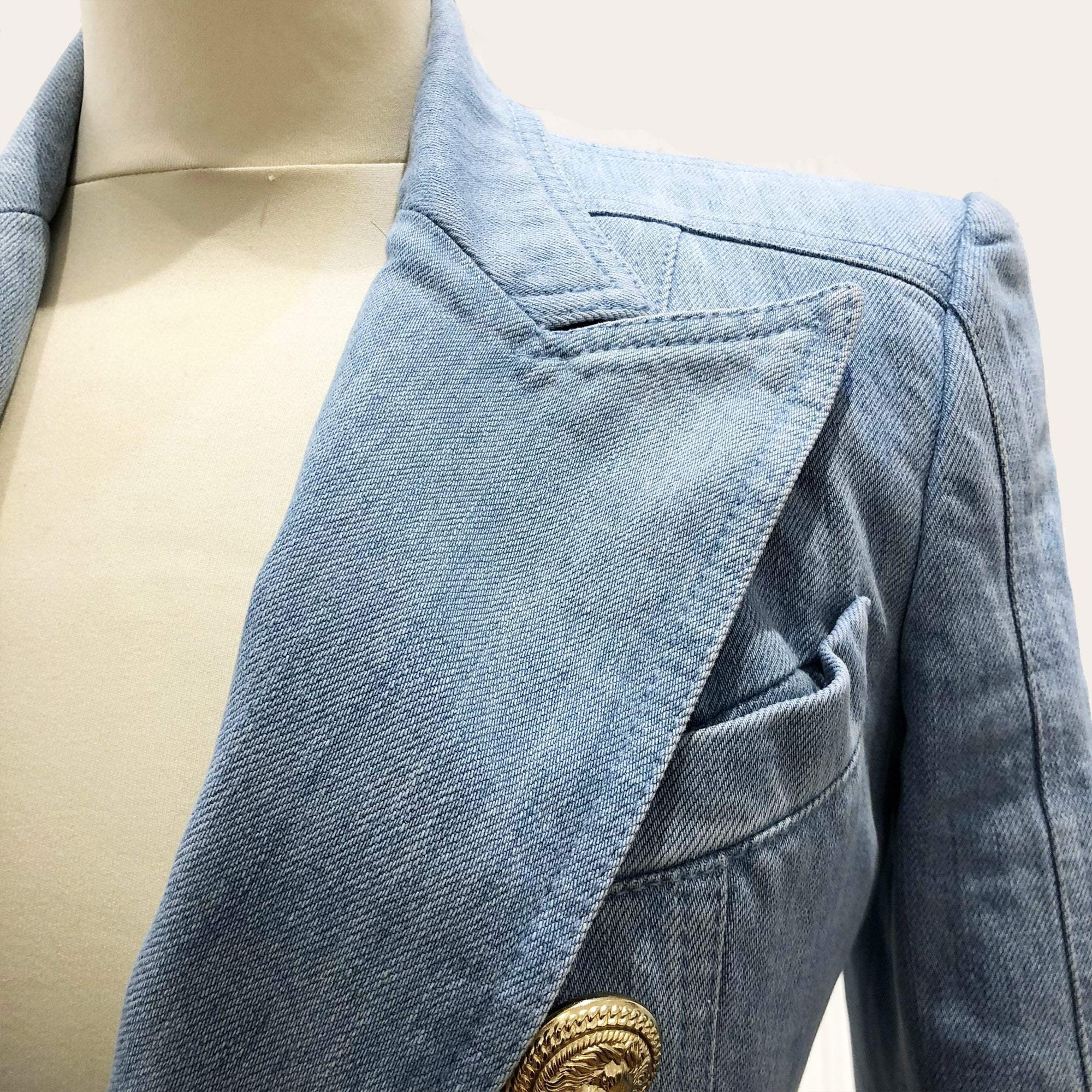 Balmain Light Blue Denim Jacket w Gold Buttons