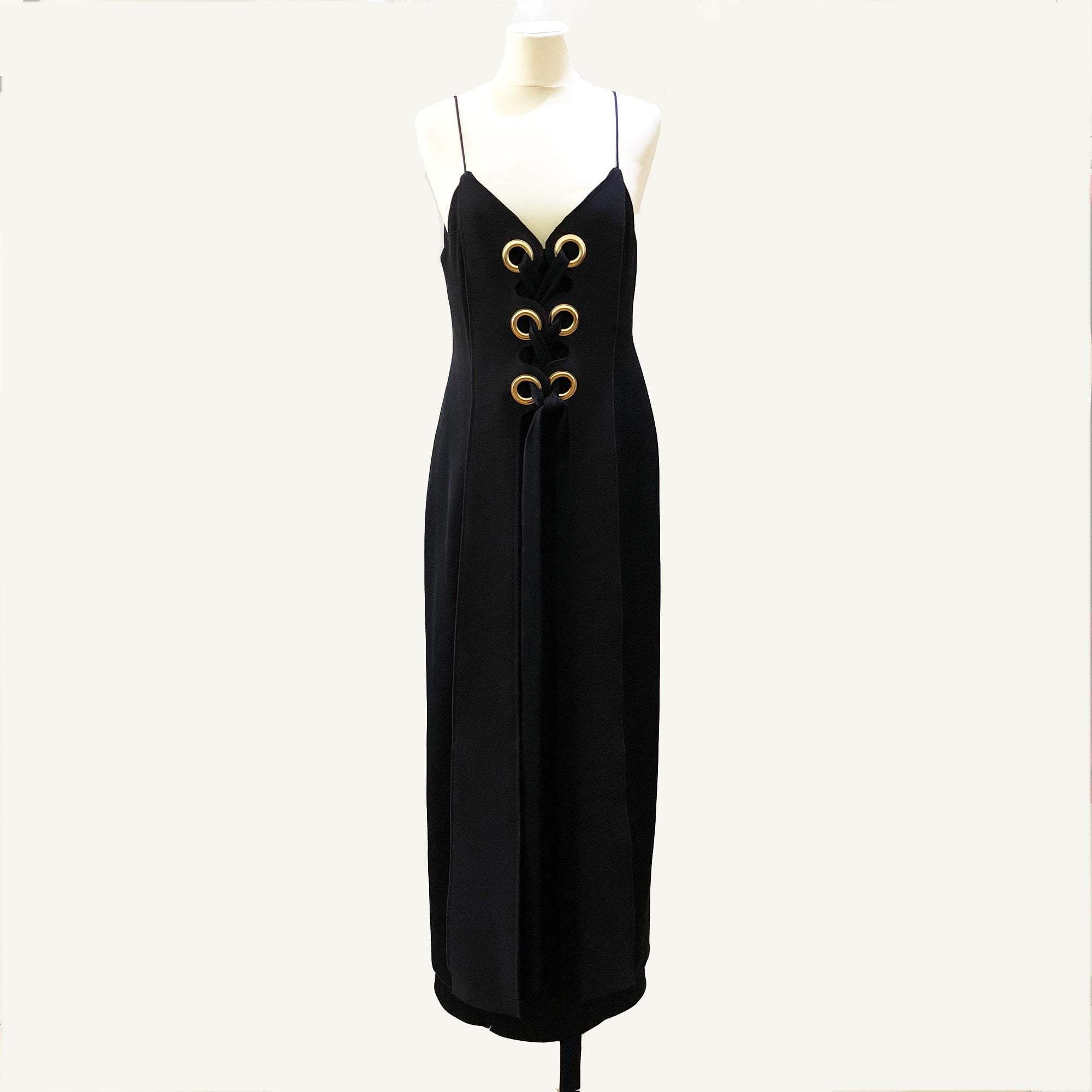 Ellery Black Long Dress With Gold Ring Holes