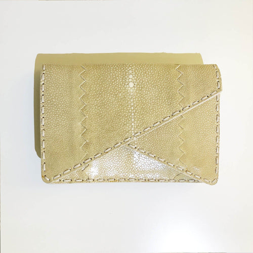 Bottega Veneta Beige Stingray Envelope Clutch