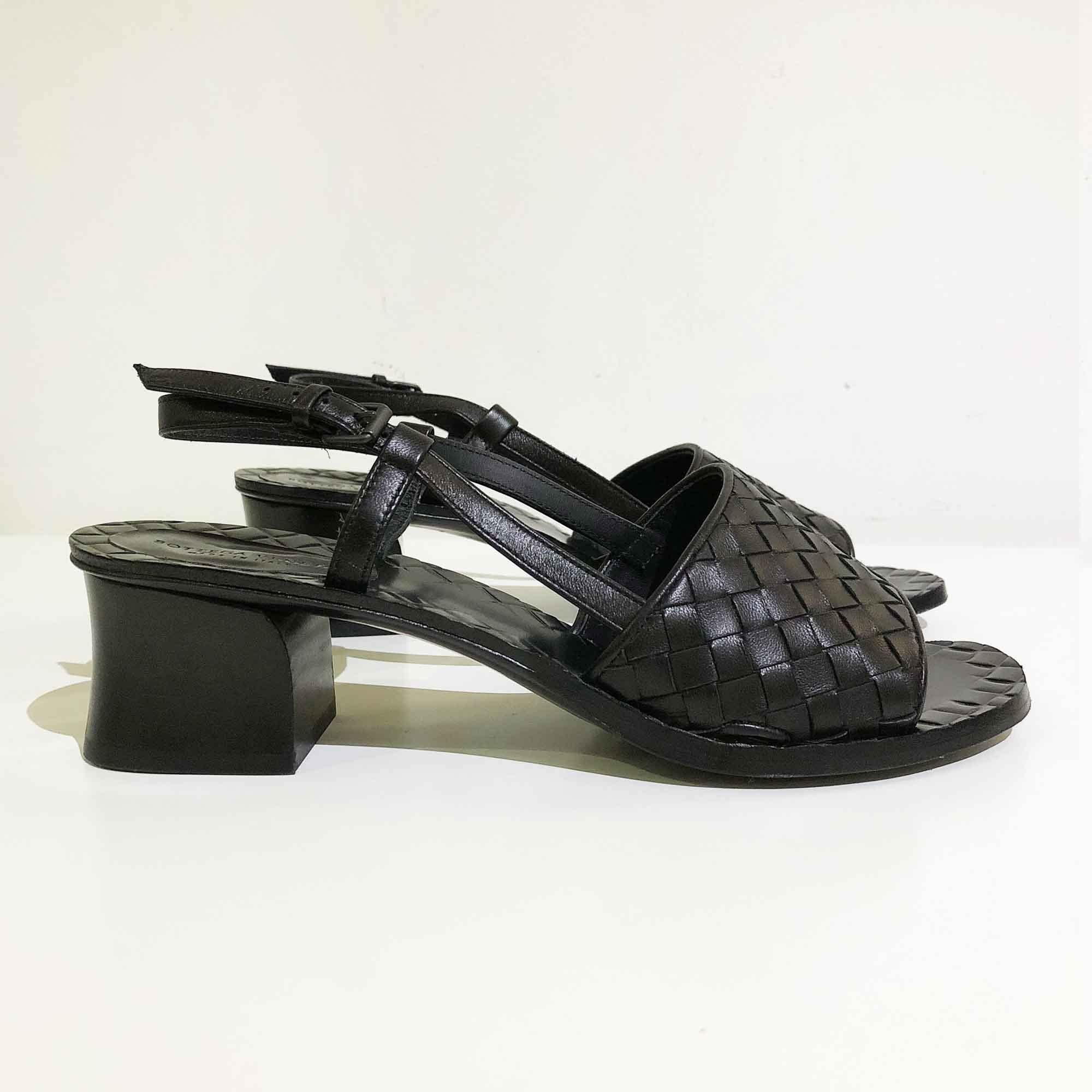 Bottega Veneta Black Intrecciato Leather Sandals