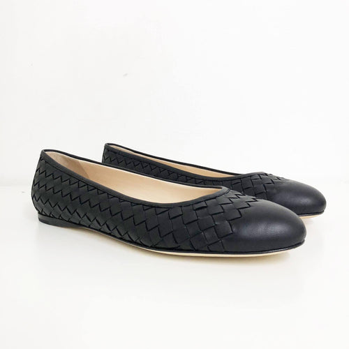 Bottega Veneta Black Intrecciato nappa lame peggy ballerina Shoe