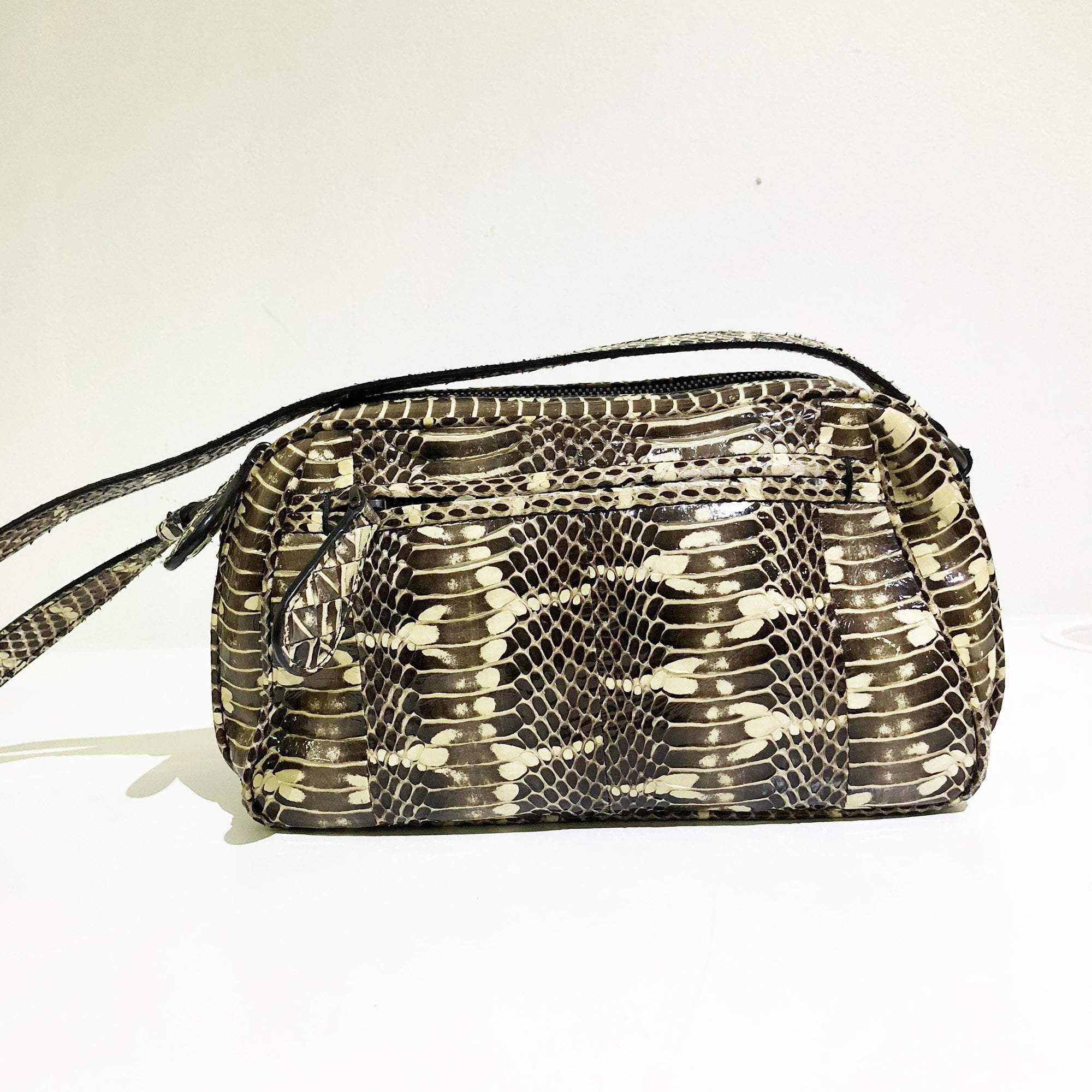 Bottega Veneta Chartreuse Mangrove And Ayers Snakeskin Crossbody Bag