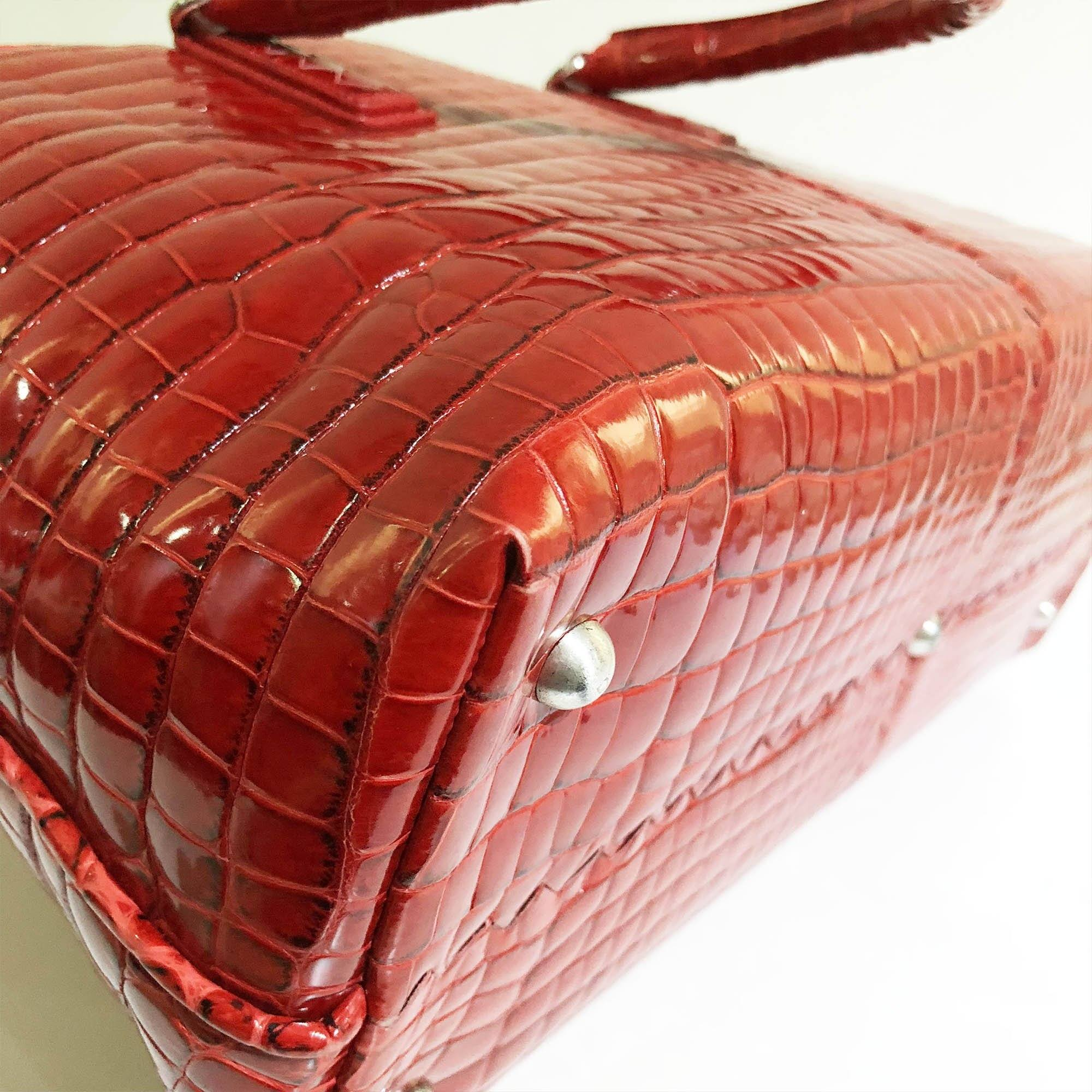 Bottega Veneta Crocodile Fumé Fenice Tote Red Bag