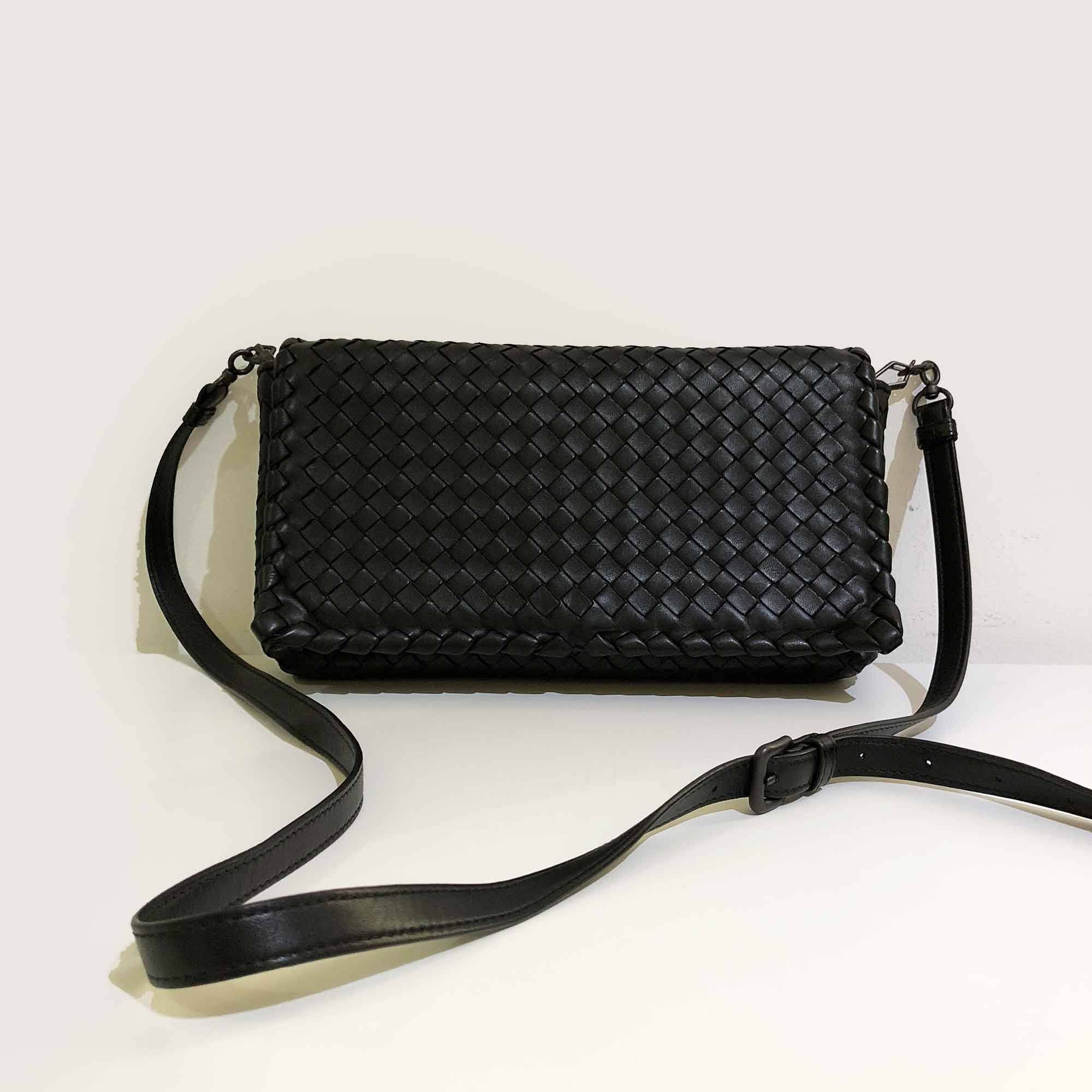 Bottega Veneta Intrecciato Leather Flap Crossbody Bag