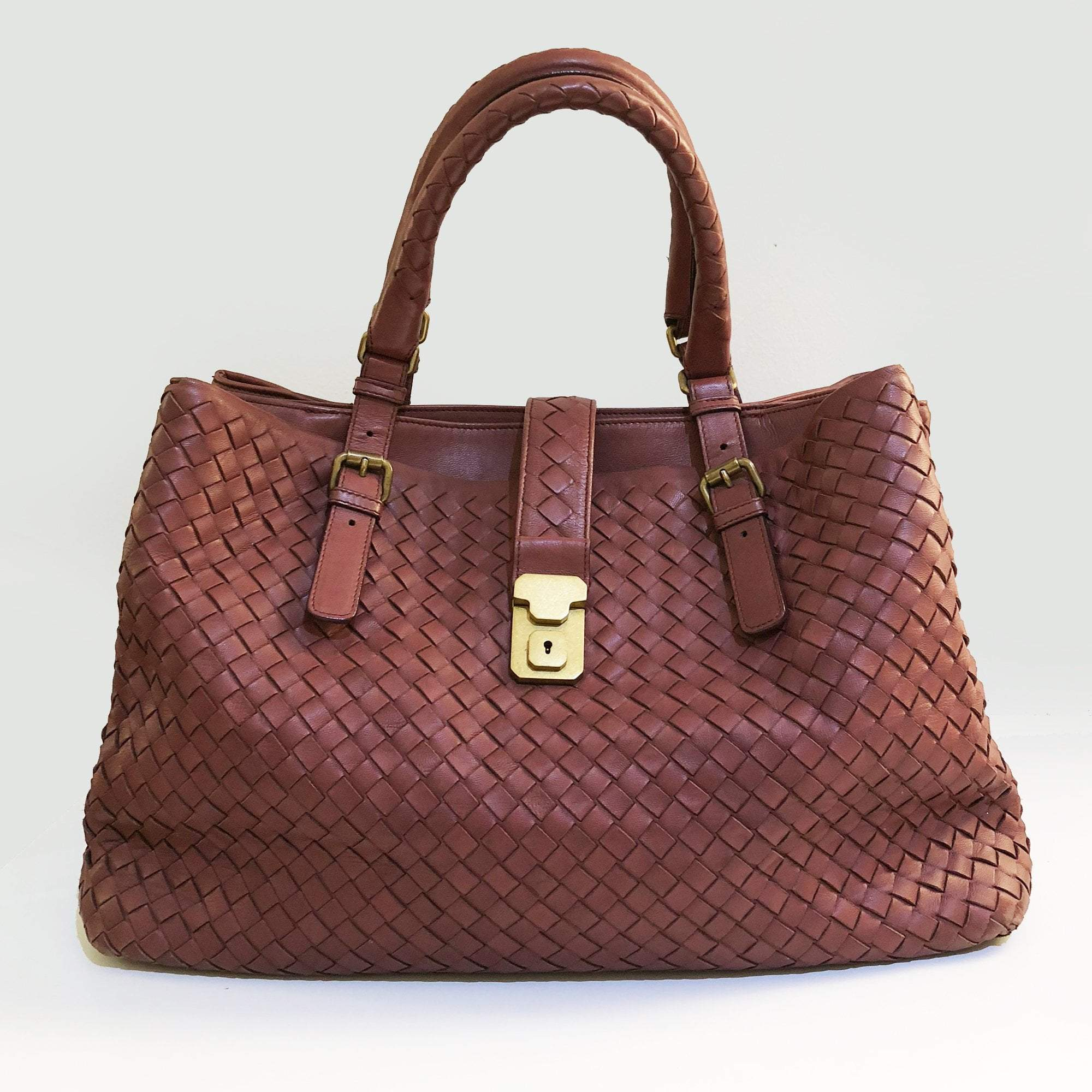 56870cb37e6e Bottega Veneta Maroon Roma Intrecciato Leather Tote Bag – Garderobe