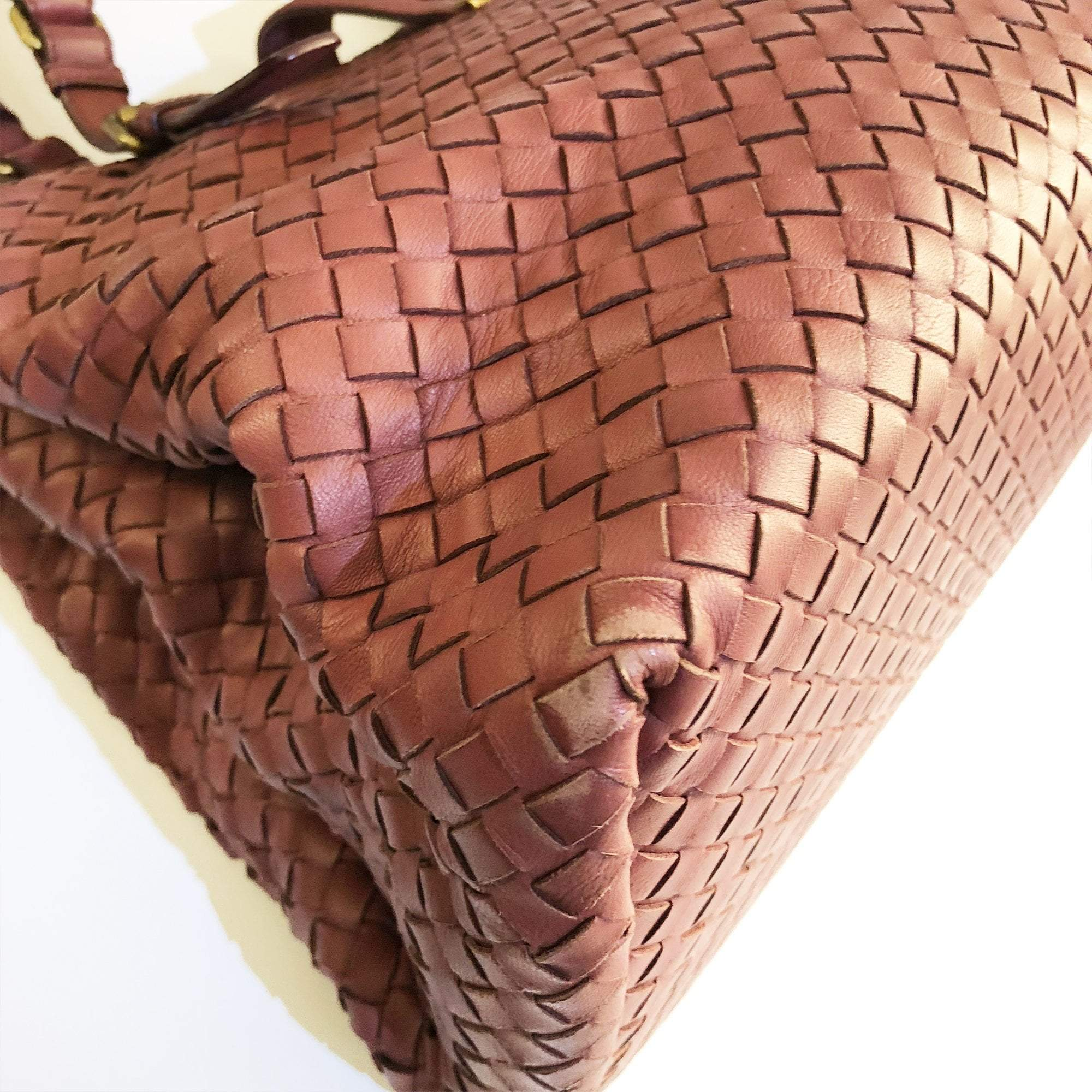 Bottega Veneta Maroon Roma Intrecciato Leather Tote Bag