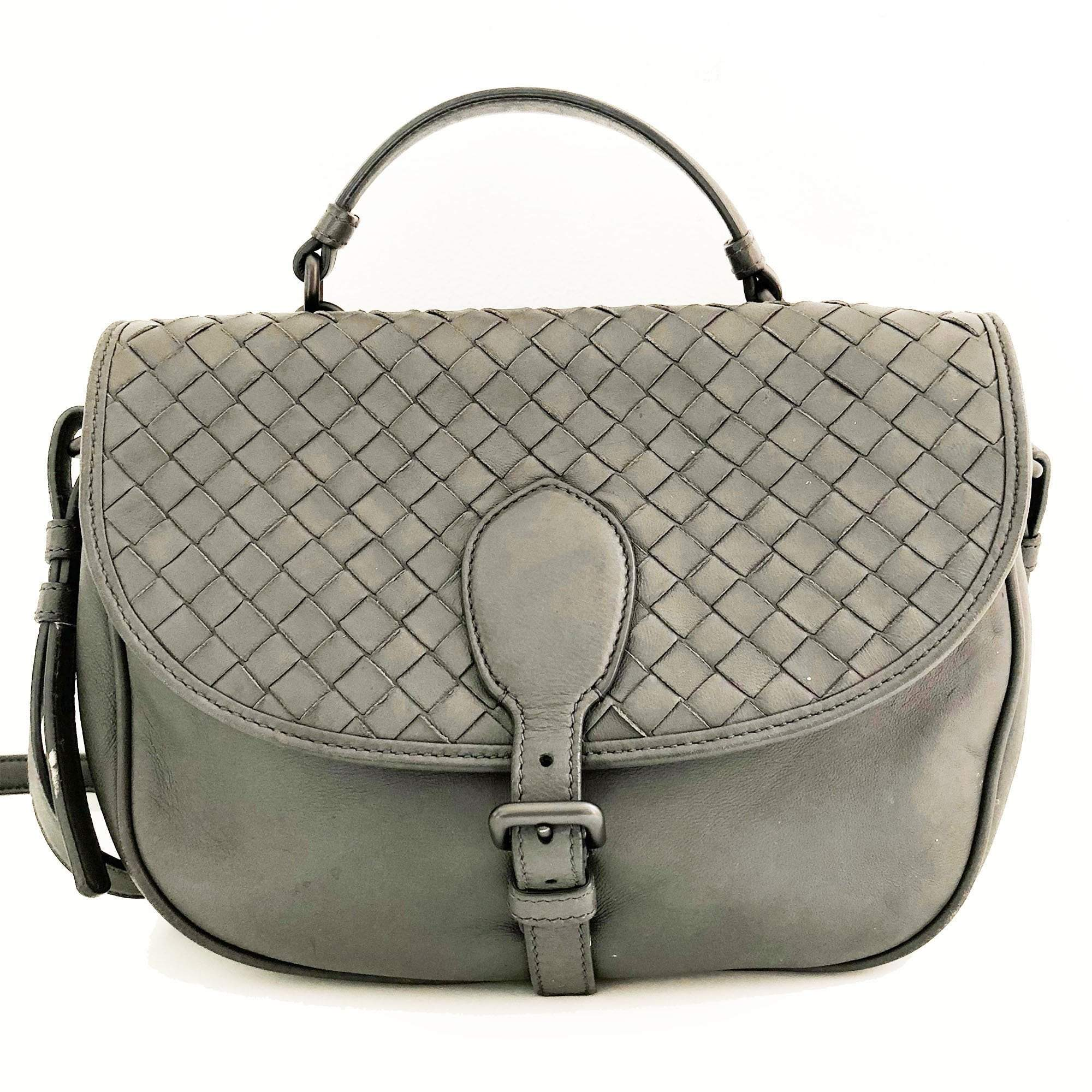6f611bf9780d Bottega Veneta Grey Satchel Crossbody Bag – Garderobe