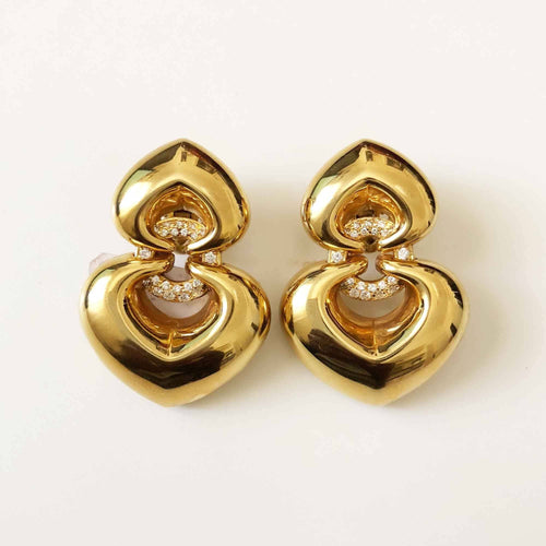 Bulgari Gold Double Heart Drop Earrings