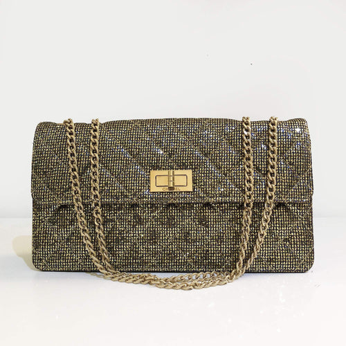 Chanel Crystal Quilted Mademoiselle Evening Flap Gold