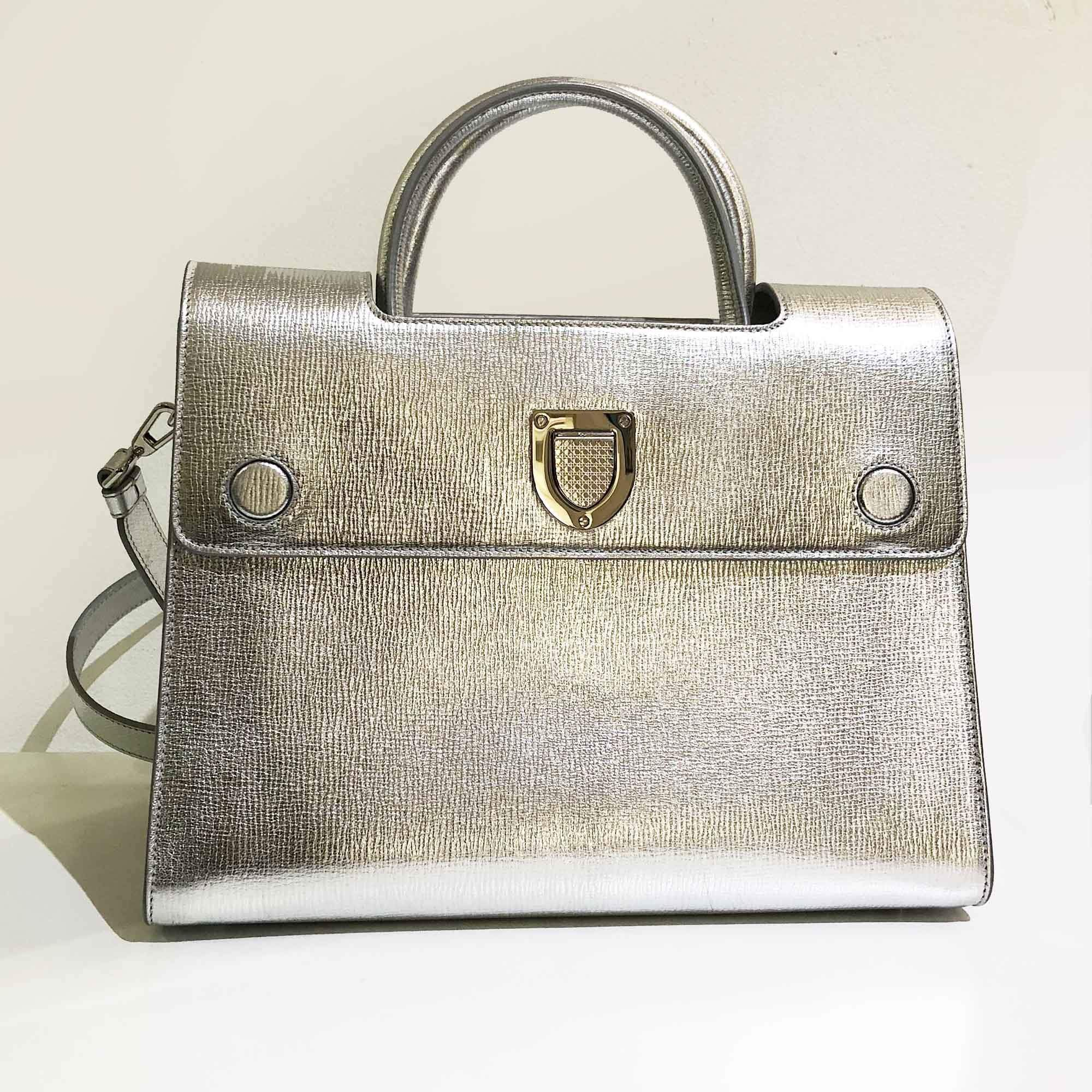 Christian Dior Grained Leather Medium Diorever Flap Silver