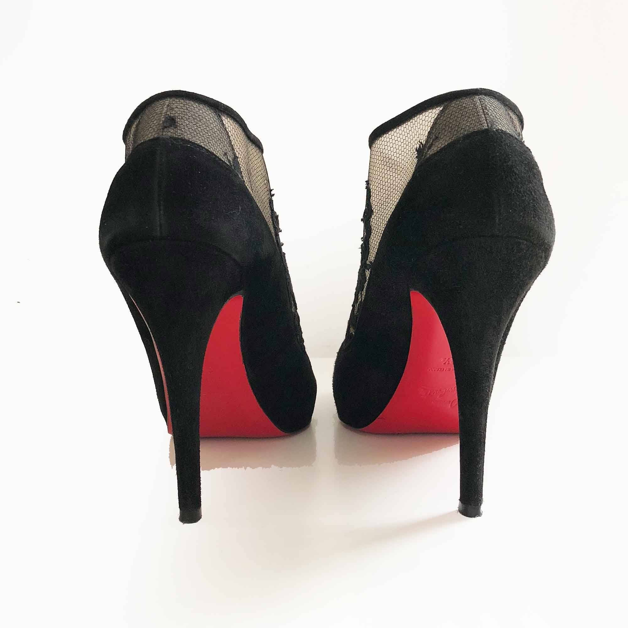 Christian Louboutin Suede Lace Clic Clac 100 Booties