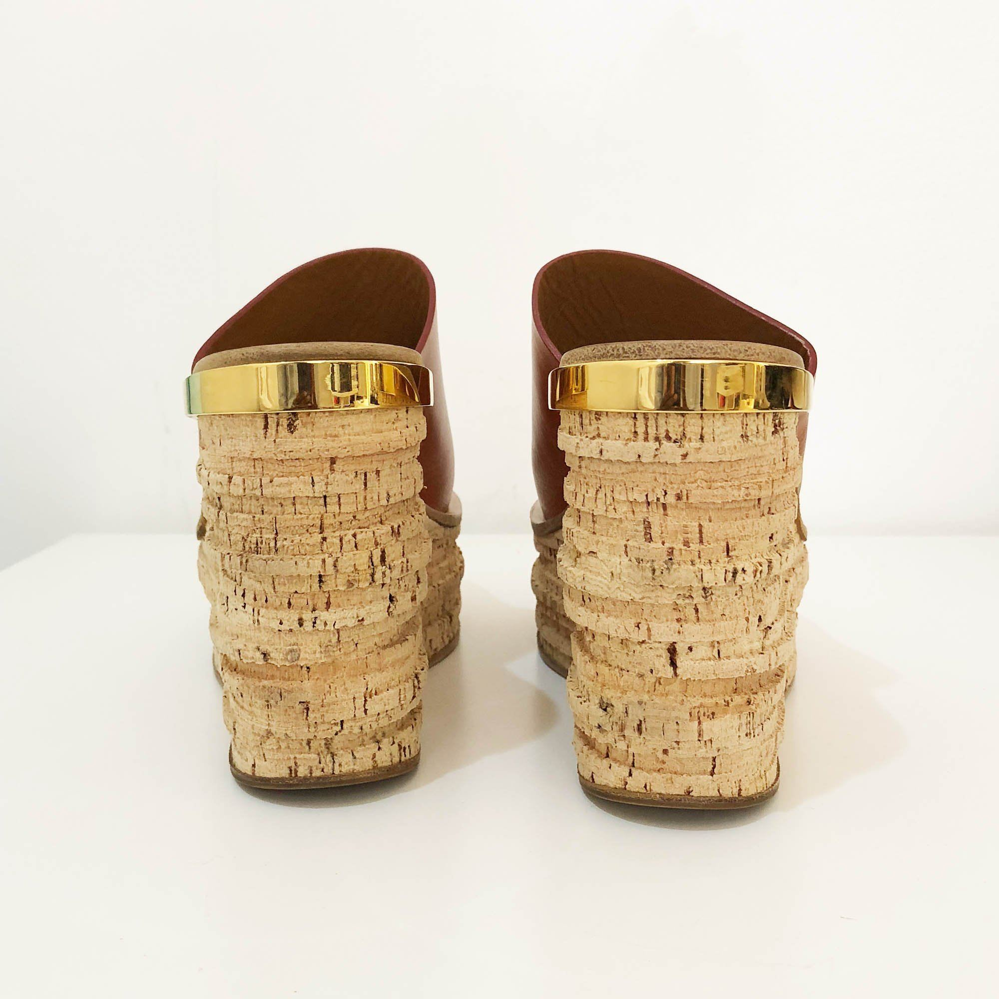 Chloe Camille Tan Leather and Cork Mule Wedges