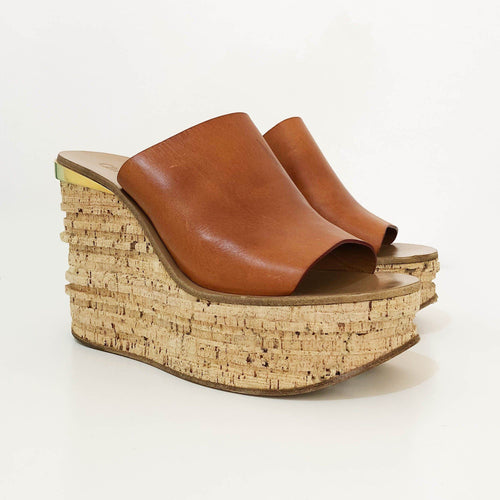 90c42ea29365 Chloe Camille Tan Leather and Cork Mule Wedges