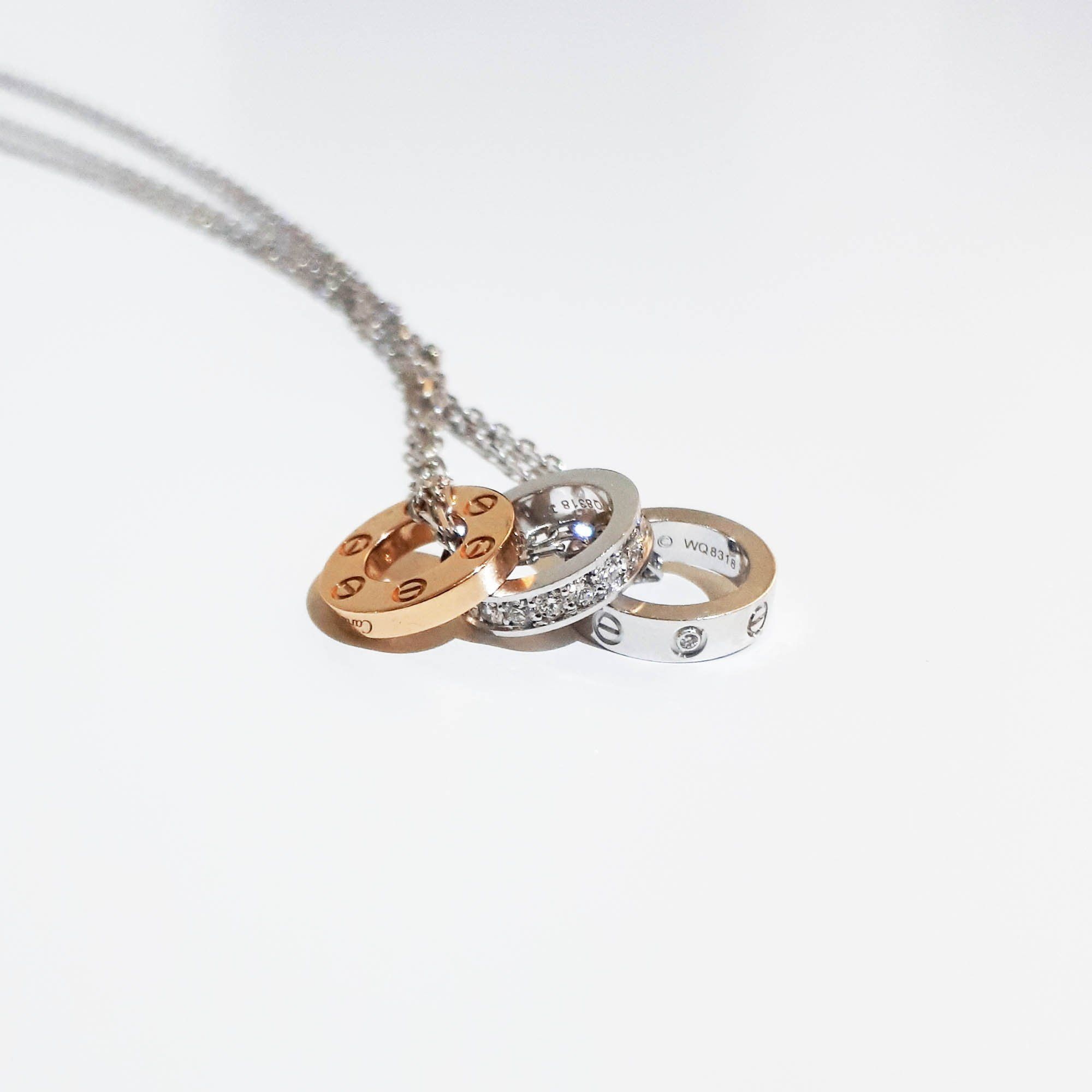 Cartier Love Necklace, Diamonds ,Yellow Gold, White Gold
