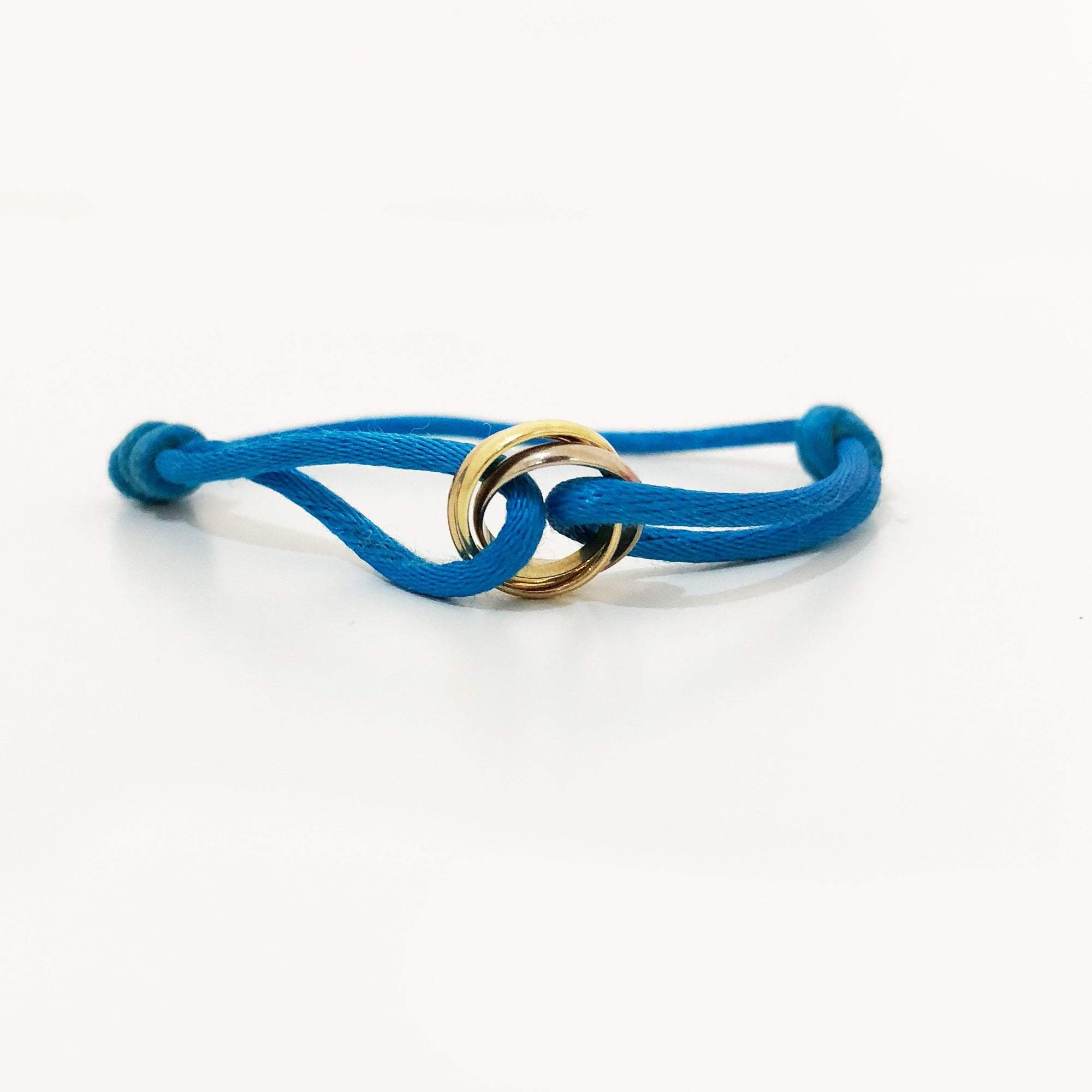 Cartier Trinity Three Tone Gold Blue Adjustable Cord Bracelet