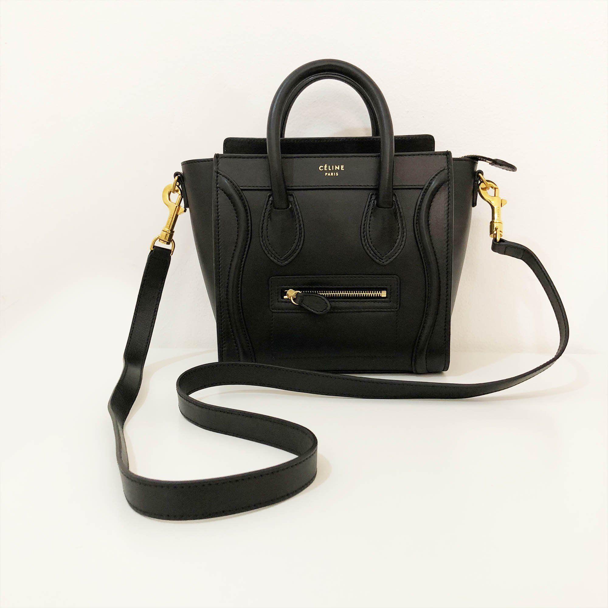 Celine Black Leather Nano Luggage Bag
