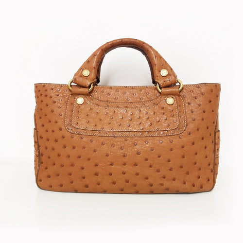 Celine Brown Boogie Ostrich Leather Bag