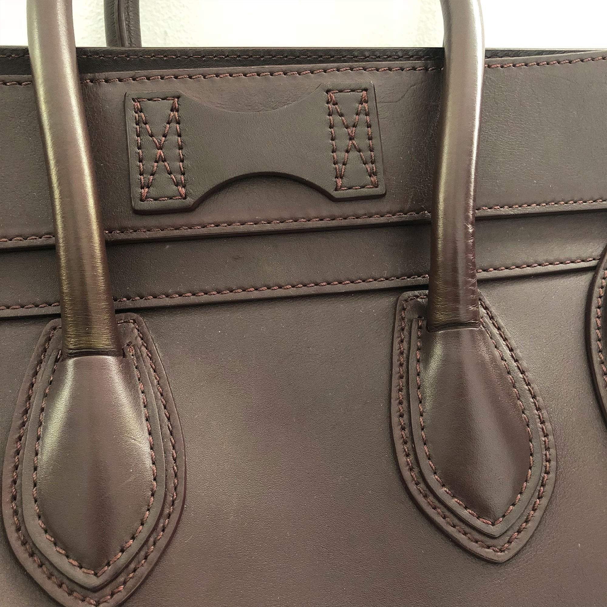 Celine Burgundy Luggage Medium Tote Bag