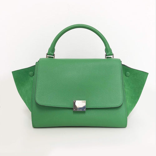Celine Green Leather and Suede Trapeze Small Tote