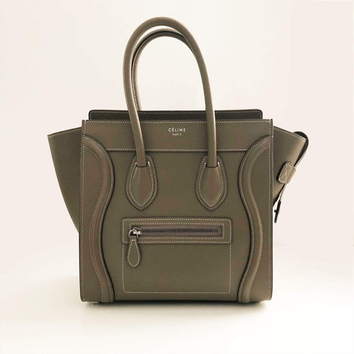 Celine Khaki Luggage Micro Tote Bag