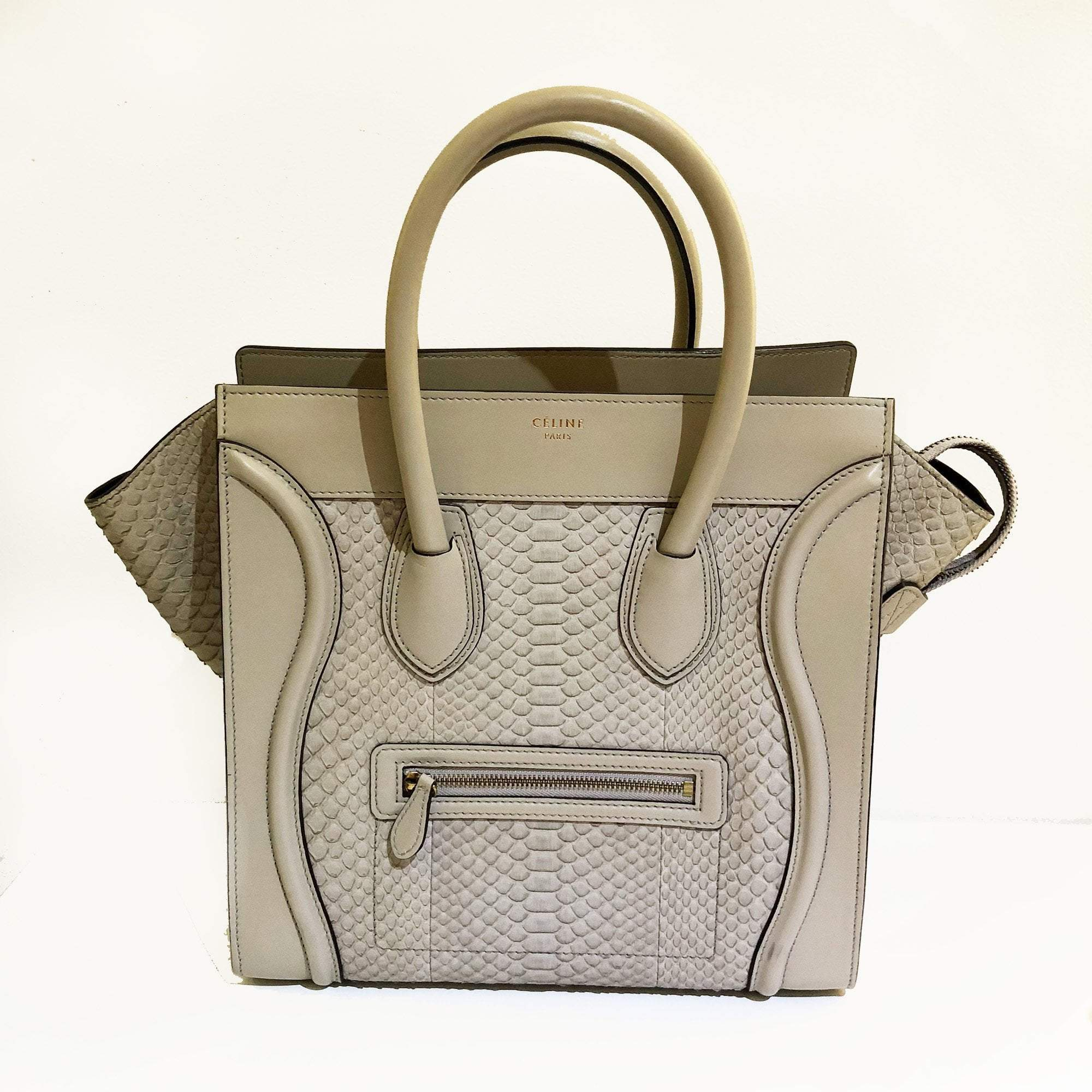 Celine Luggage Python Medium Tote Bag