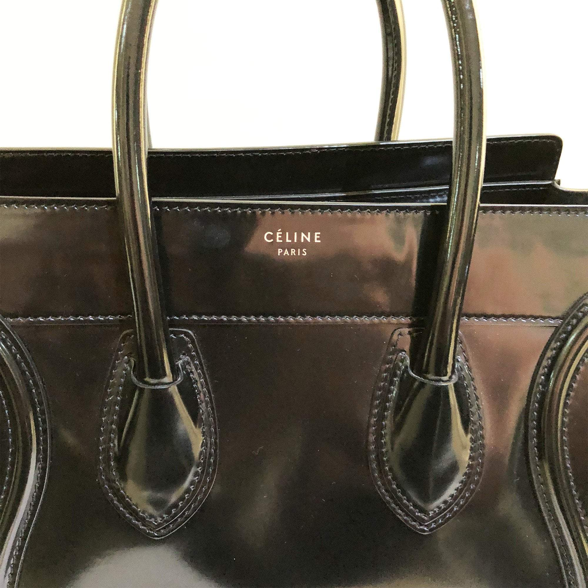 Celine Luggage Patent Leather Medium Tote Bag