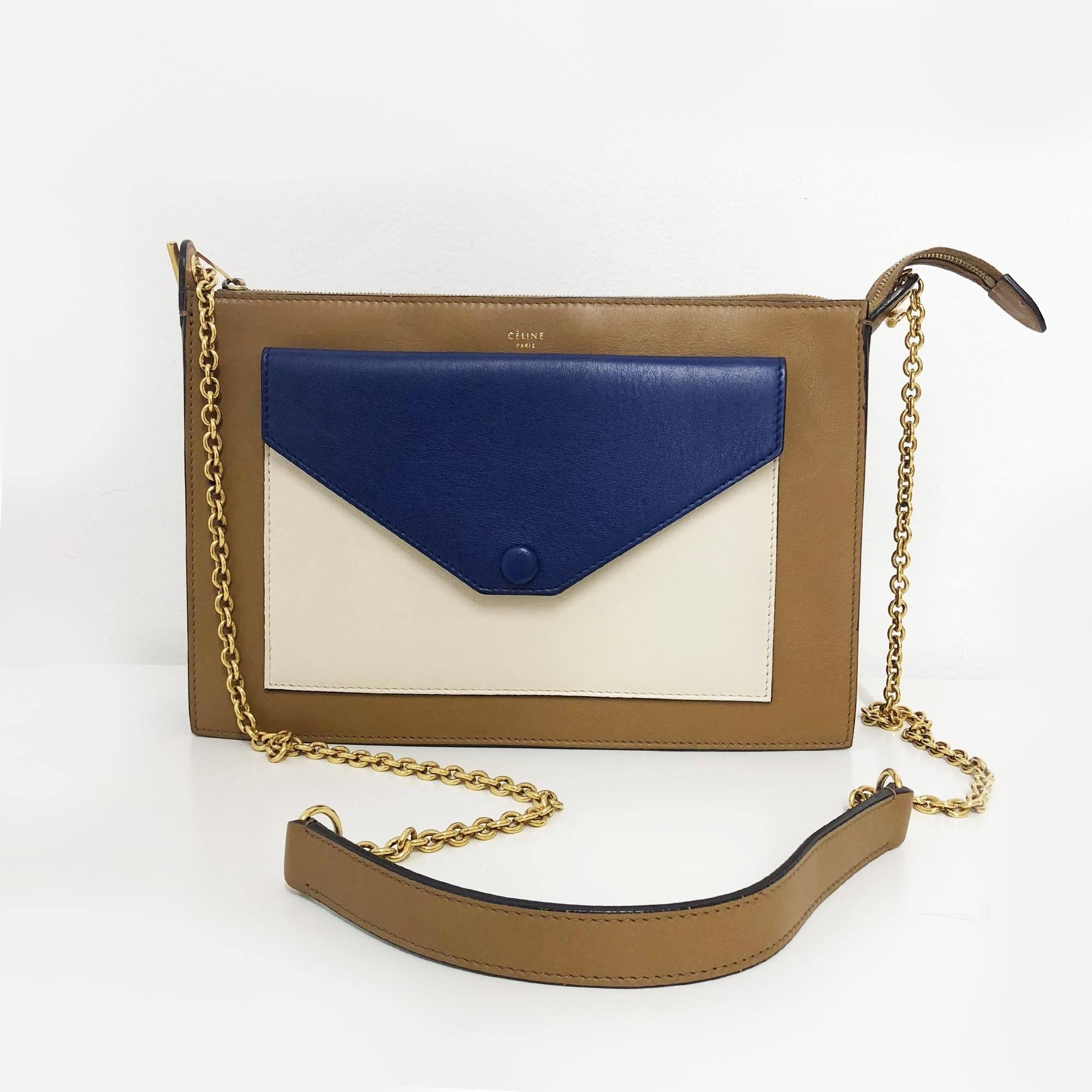 Celine Seashell Tri-Color Smooth Calfskin Leather Pocket Chain Medium Clutch Bag