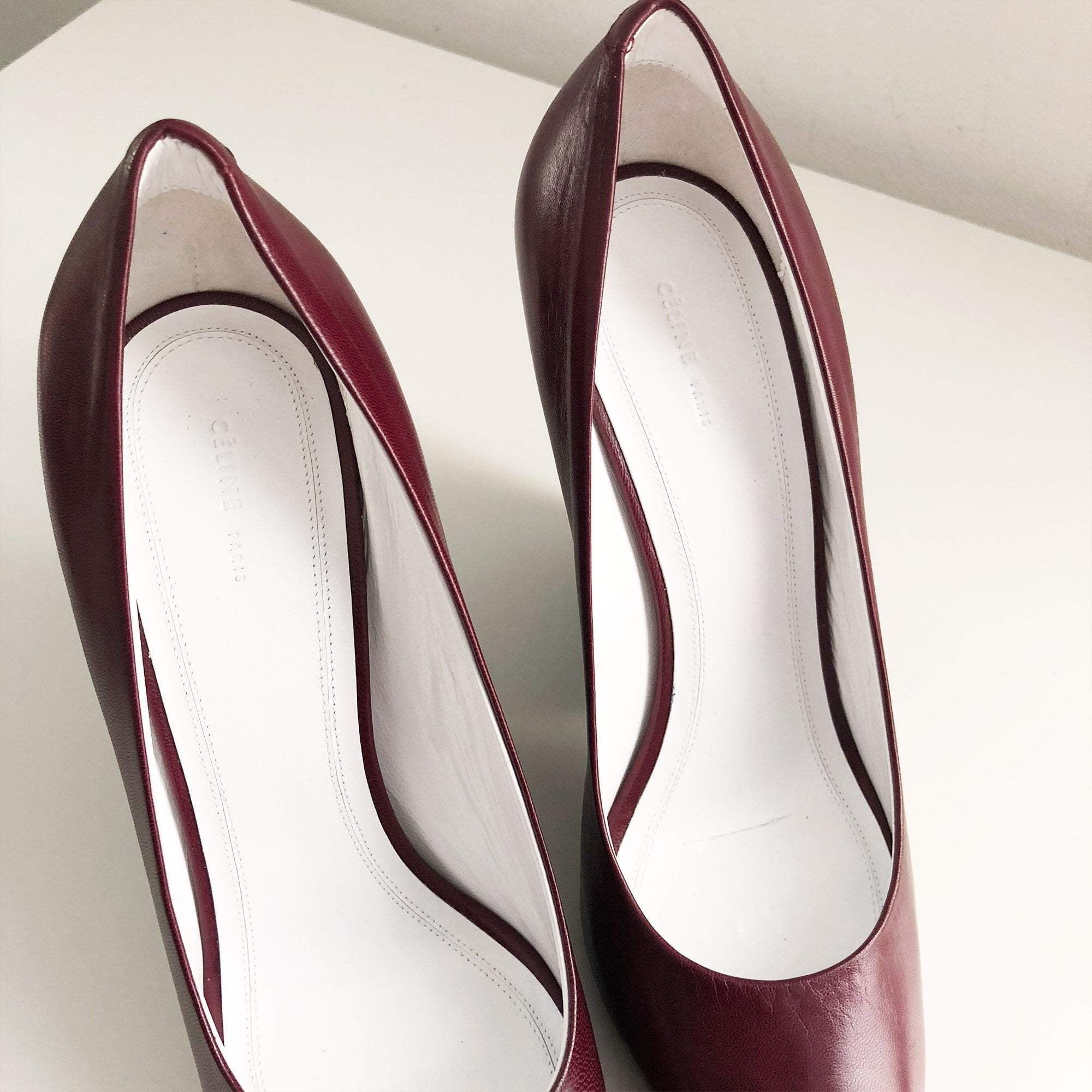 Celine Burgundy Chunky Heel Pointed Toe Pumps