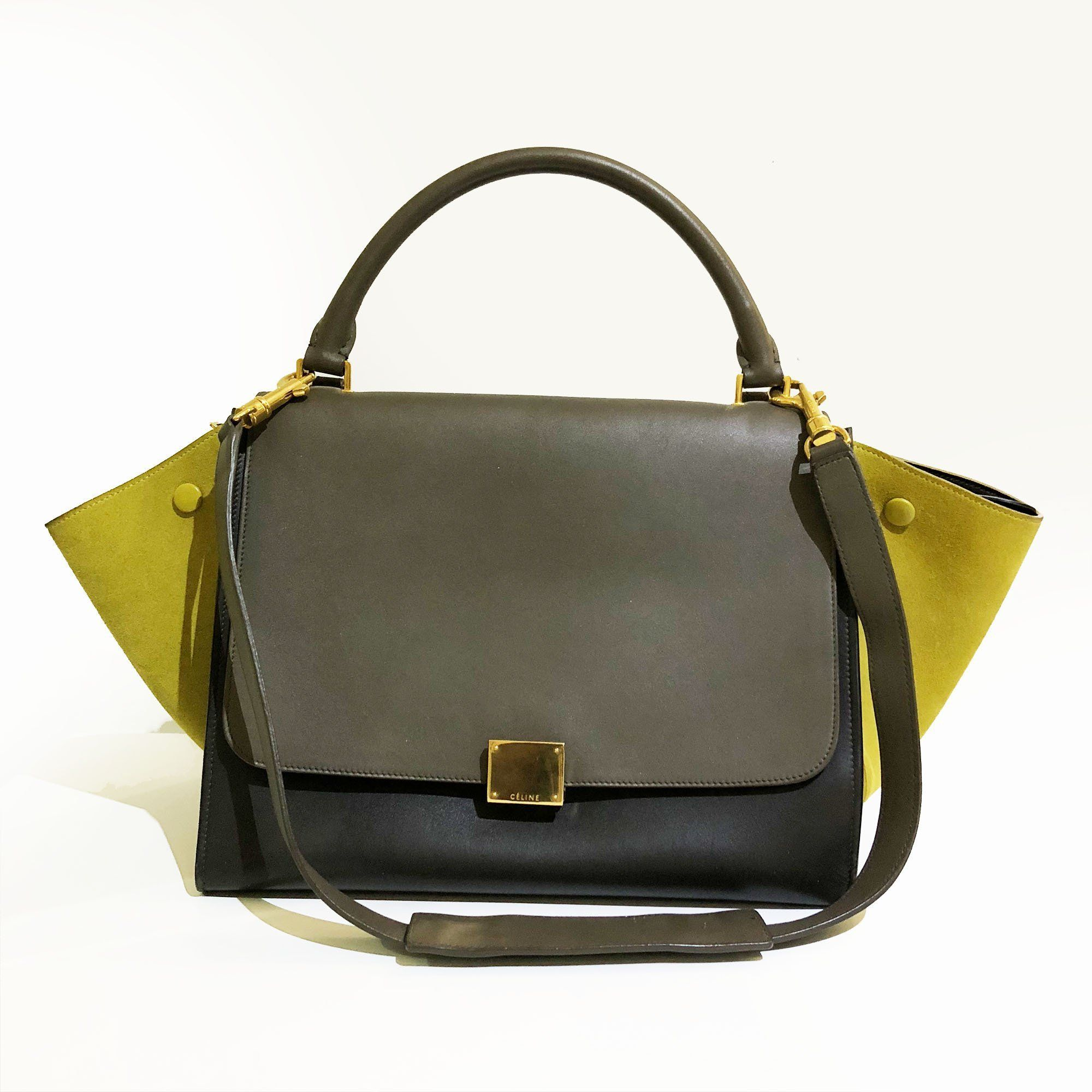 Celine Tricolor Trapeze Seude and Leather