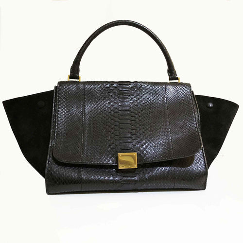 Celine Black Python and Suede Medium Trapeze Bag