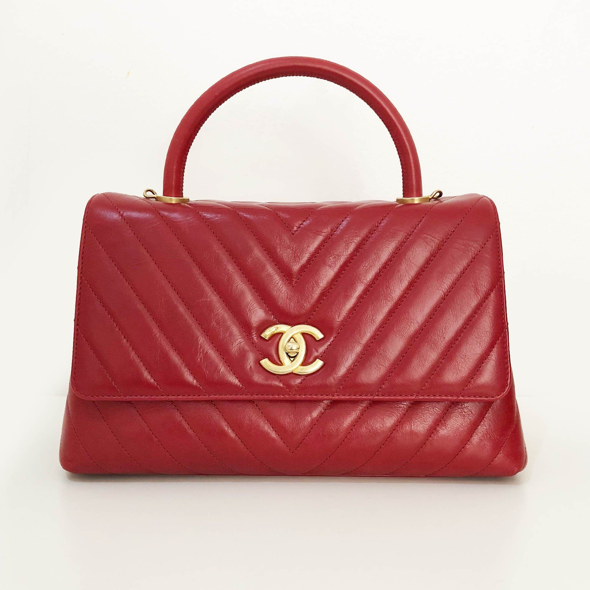 30aa33d08a4171 Chanel Aged Calfskin Chevron Quilted Coco Top Handle Bag – Garderobe