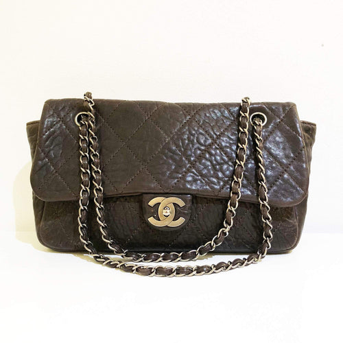 Chanel Aged Lambskin Brown Flap Bag
