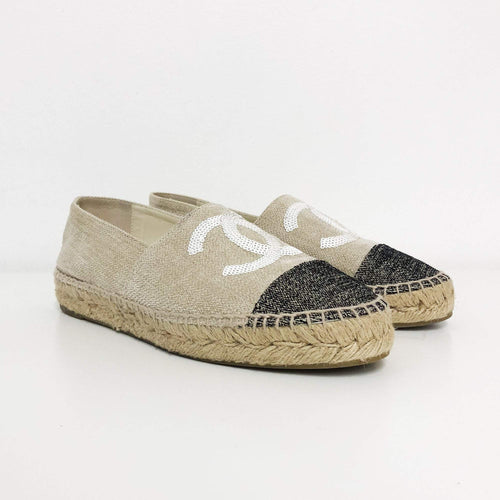 Chanel Beige & Black Sequin Embellished Canvas Espadrilles