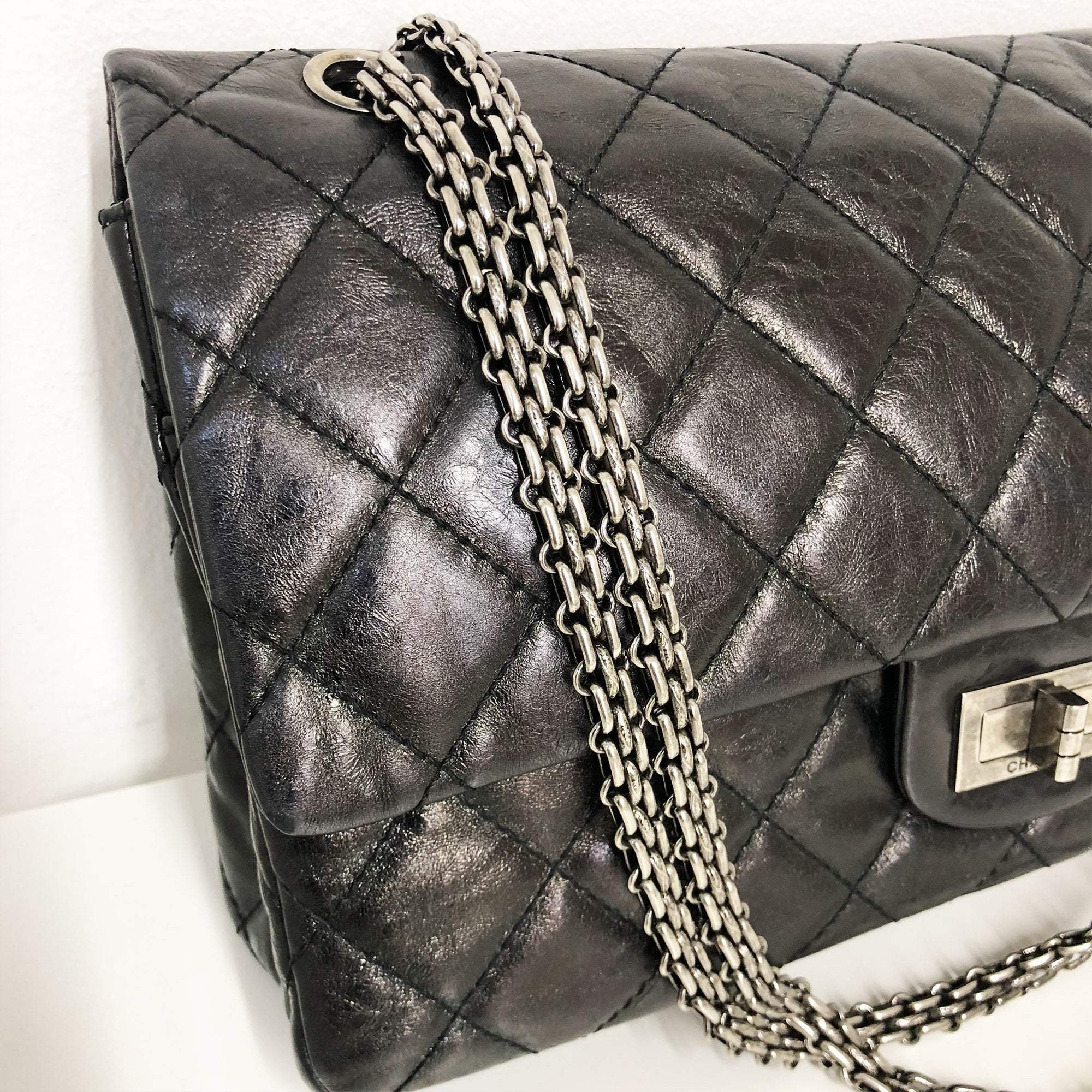 Chanel Black 2.55 Double Flap Reissue 227 Bag