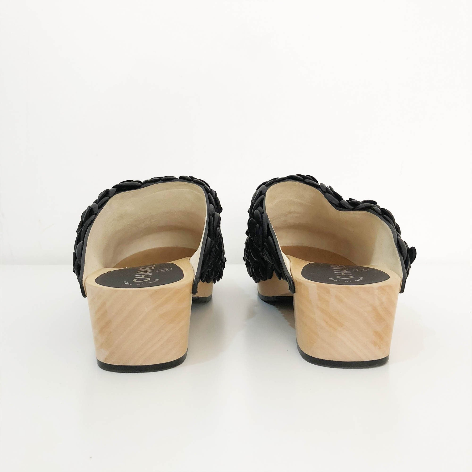 Chanel Black Camelia Clogs