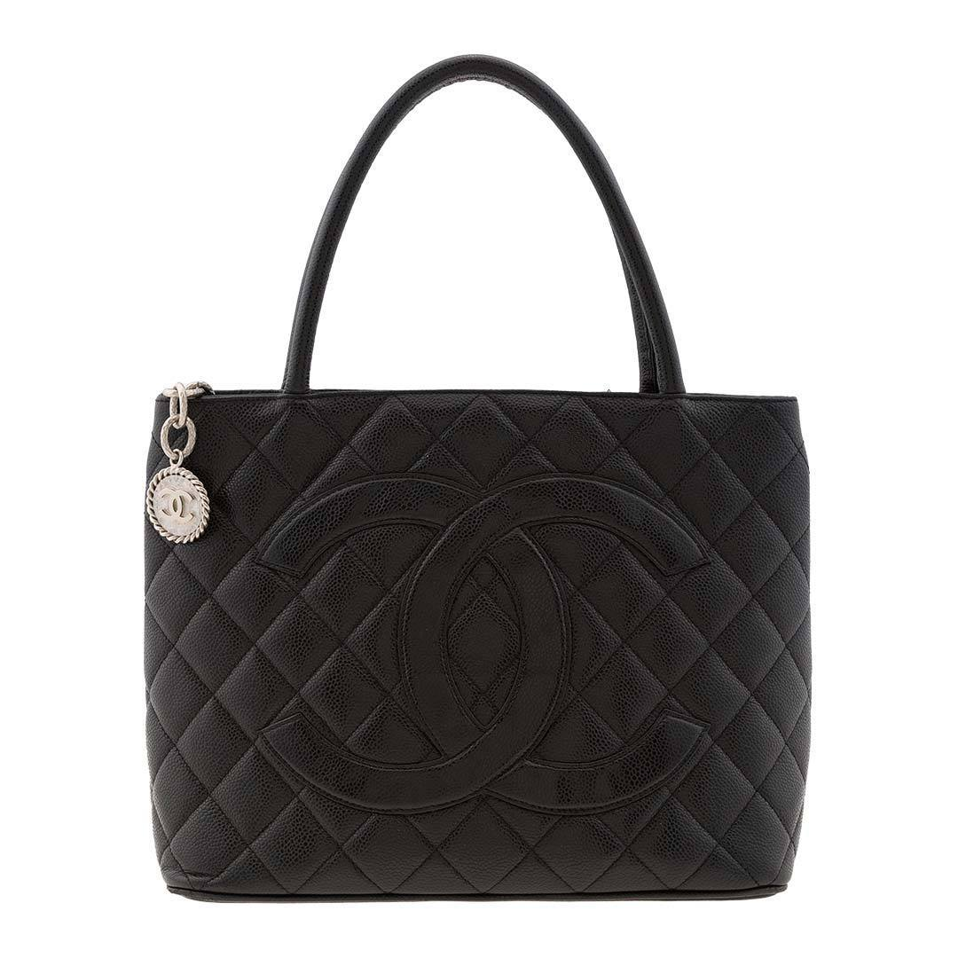 Chanel Vintage Black Caviar Medallion Tote