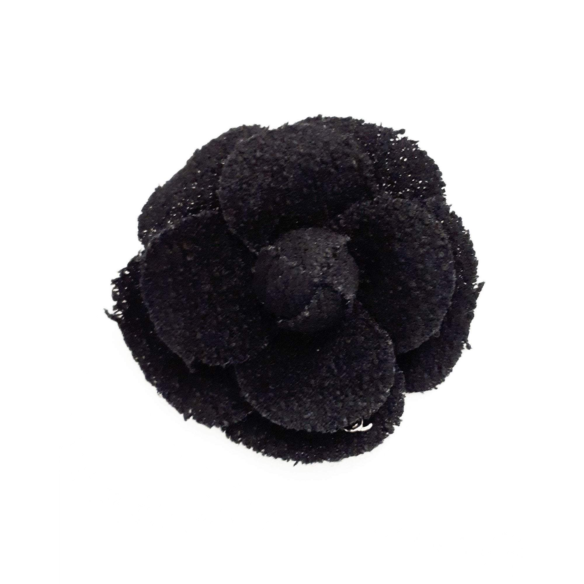 Chanel Black Fabric Camellia Brooch
