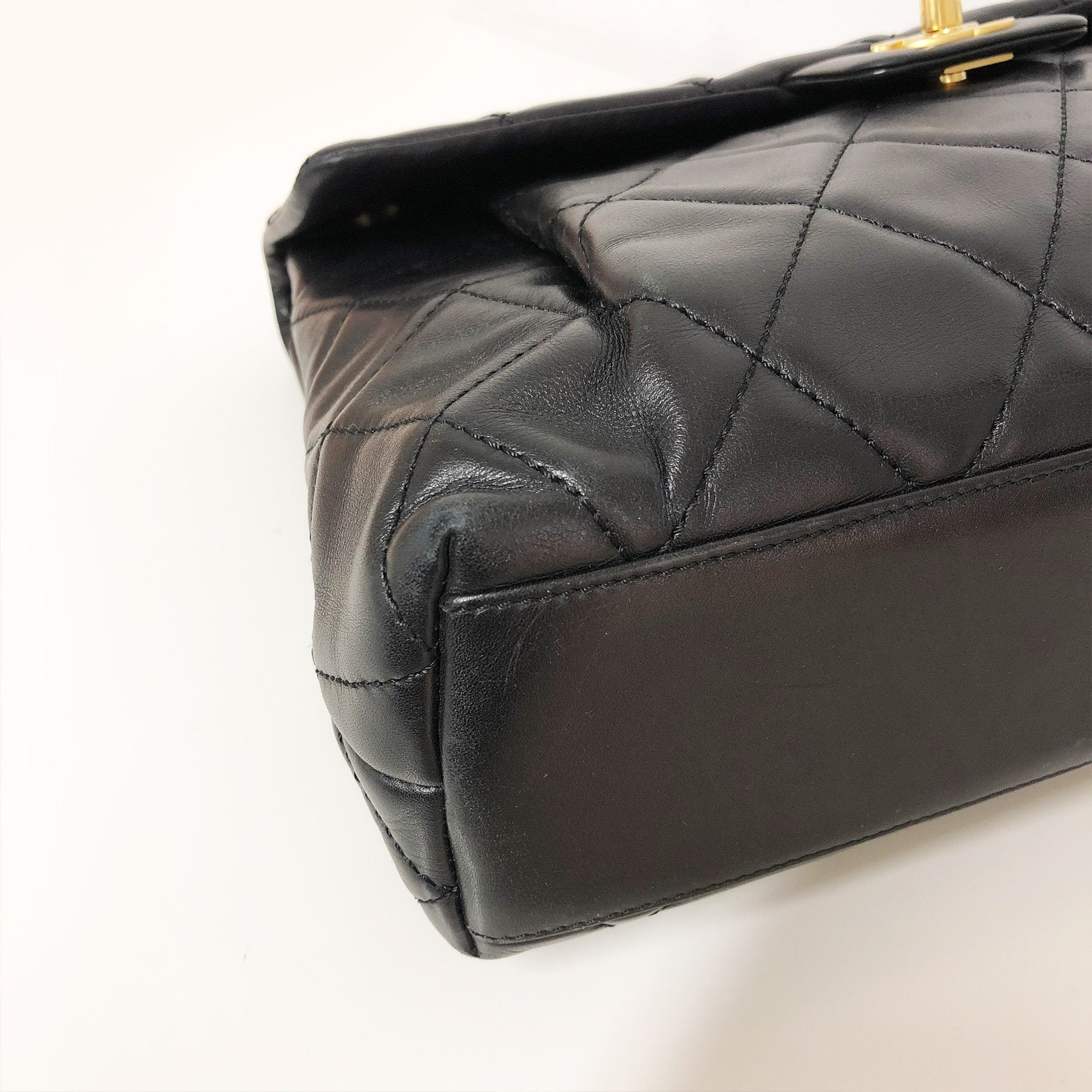 Chanel Black Lambskin  Flap Vintage Bag