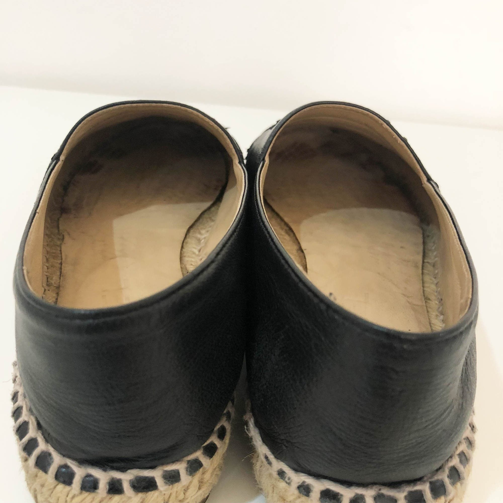 Chanel Black Leather Espadrilles