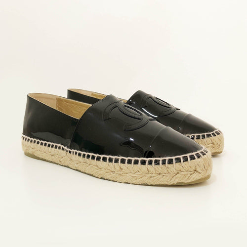 Chanel Black Patent Leather Espadrille Flats