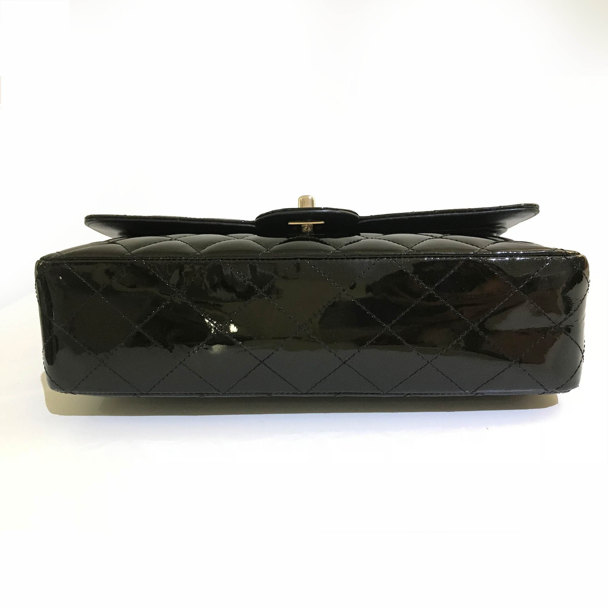 Chanel Black Patent Leather Medium Classic Double Flap Bag