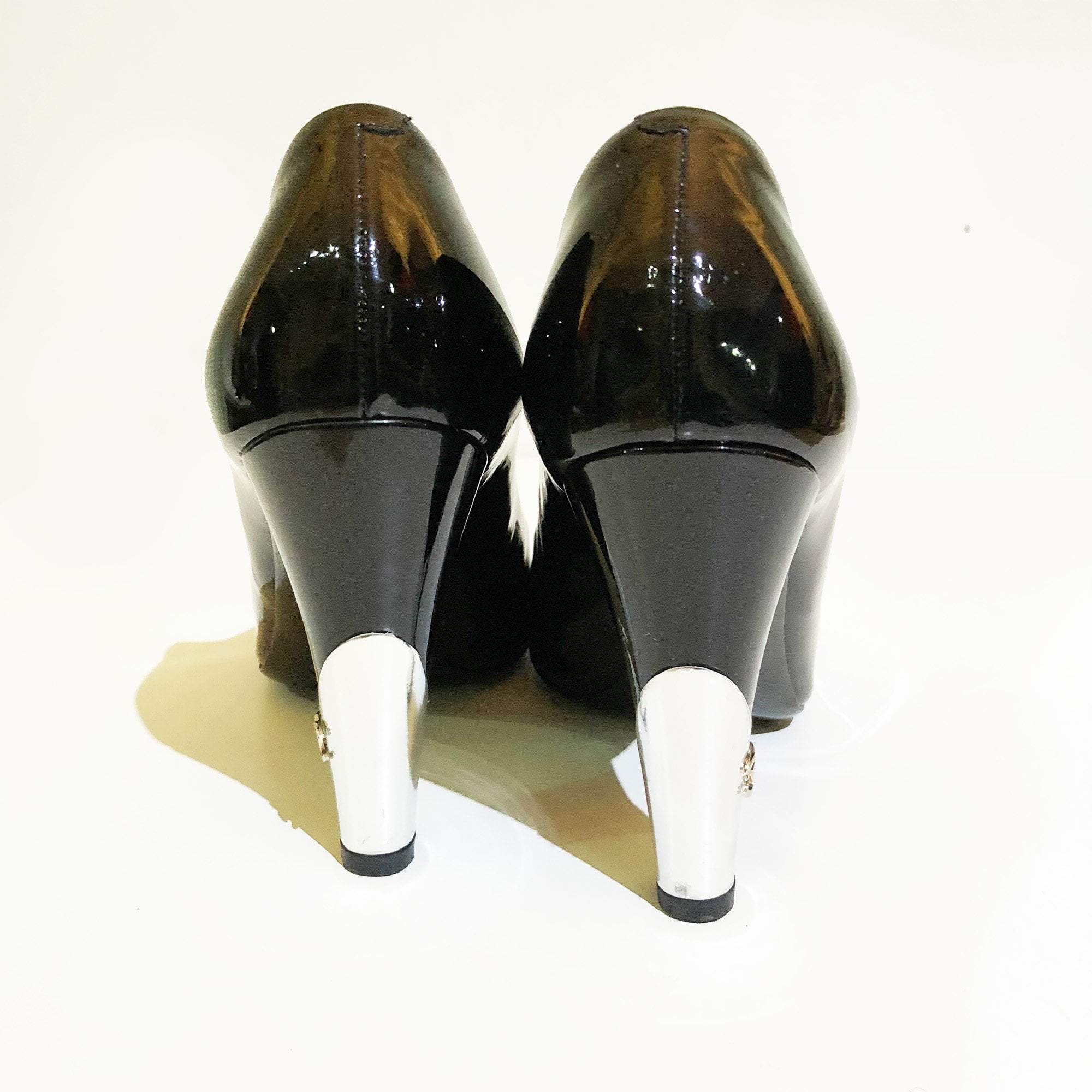 Chanel Black Peep Toe Patent Leather Pumps