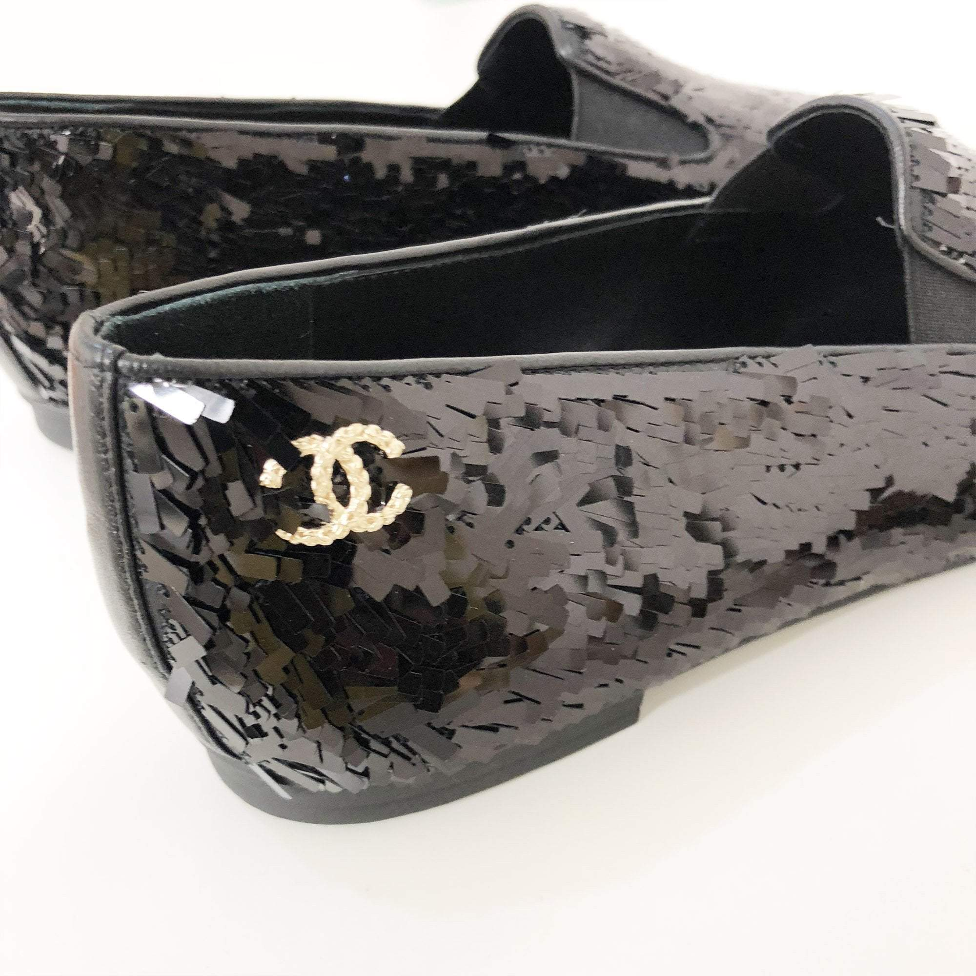 Chanel Black Sequined CC Mocassin Loafers